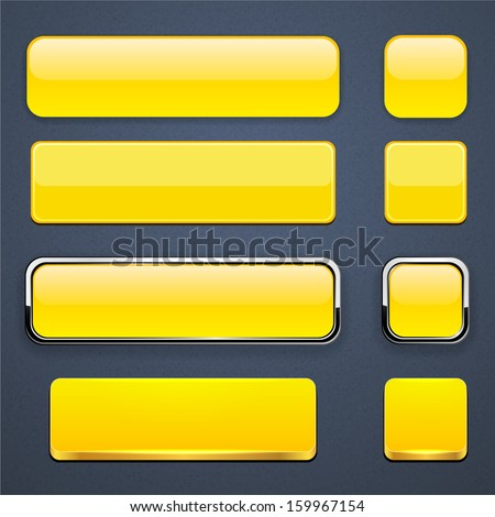 Set of blank yellow buttons for website or app. Vector eps10.  - stock vector