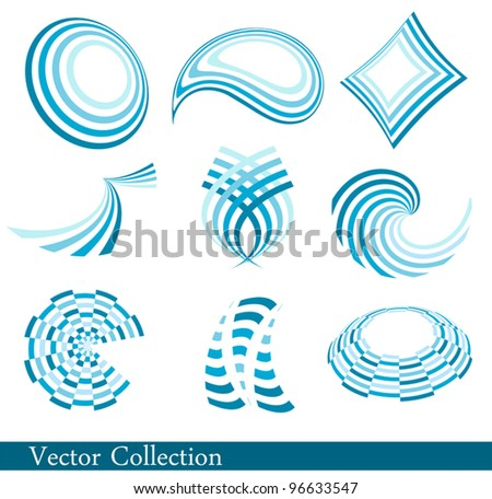 Set of blue abstract elements - stock vector