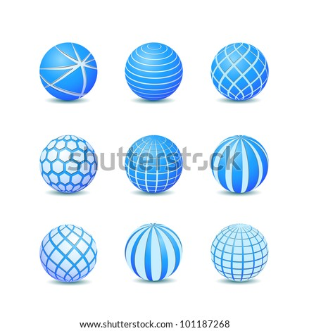 Set of Blue Abstract Round Stripe Ball Icons. Vector Illustration - stock vector