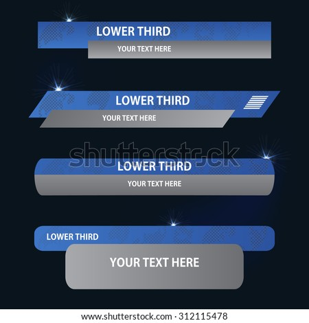 Set of blue and gray banners against a dark background of  lower third. Vector illustration. - stock vector