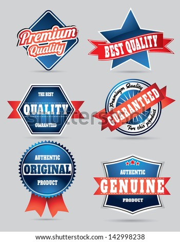 set of blue and red vintage retro shaded quality control labels - stock vector