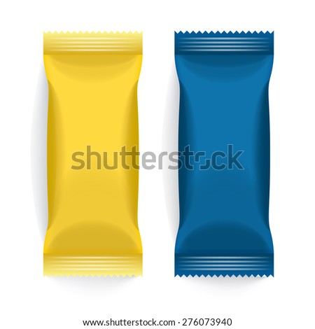 Set of Blue and Yellow Blank Foil Packaging : Vector Illustration EPS10 - stock vector
