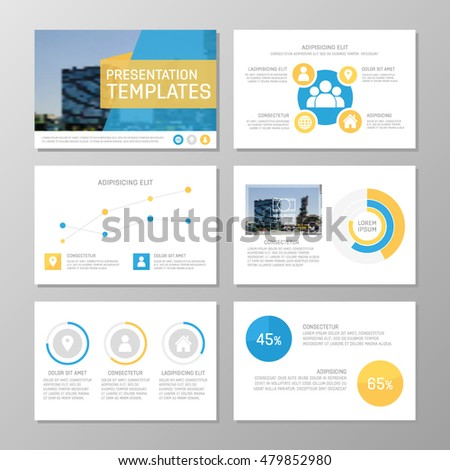 Set of blue and yellow template for multipurpose presentation slides with graphs and charts. Leaflet, annual report, book cover design.