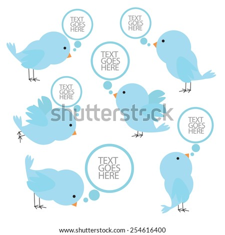 set of blue birds with speech bubbles. vector