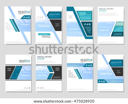 Collection Blue Brochure Templates Annual Report Stock Vector - Design brochure templates