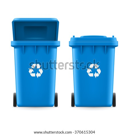 Set of blue buckets for trash with sign arrow