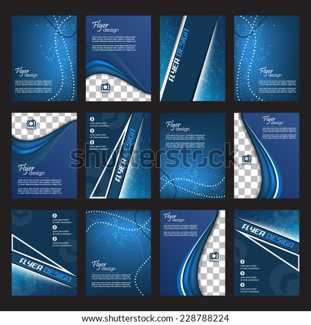 Set of blue business flyer for cover design or corporate banner  - stock vector