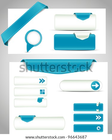 set of blue buttons, banners, bookmarks for your site - stock vector