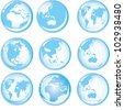 Set of blue buttons with Earth globes - stock vector