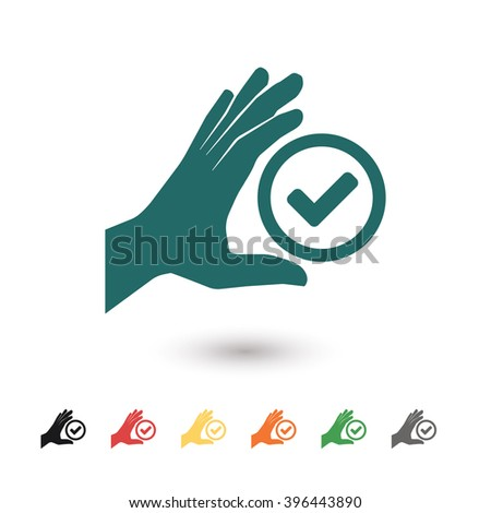 Set of: blue Check hand vector icon, black Check hand icon, red Check hand icon, yellow Check hand icon, orange Check hand icon, green Check hand icon, gray Check hand icon - stock vector