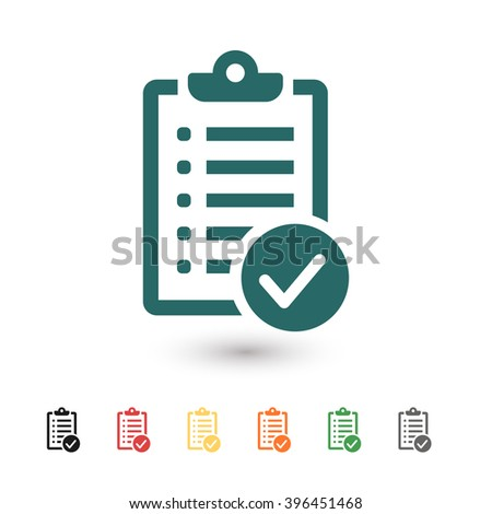 Set of: blue Check list vector icon, black Check list icon, red Check list icon, yellow Check list icon, orange Check list icon, green Check list icon, gray Check list icon - stock vector