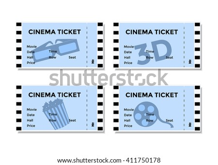 Set of blue cinema tickets with the image of 3D-glasses , popcorn and movies. Vector illustration EPS10 - stock vector