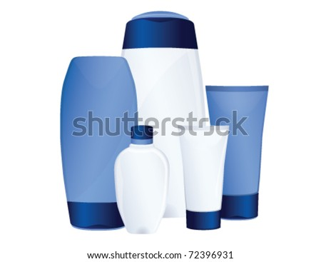 Set of blue cosmetic bottles, vector - stock vector