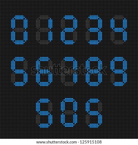 Set of blue digital numbers. SOS. - stock vector