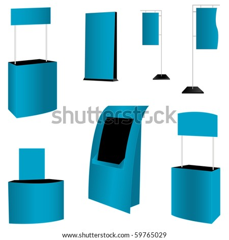 set of 7 blue display. vector illustration - stock vector