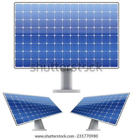 Set of Blue electric solar panel for sun light. Vector illustration - stock vector