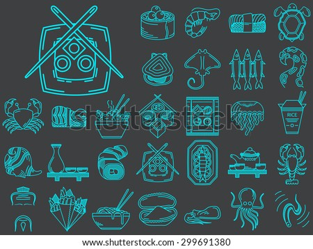Set of 30 blue flat line vector icons for elements of asian seafood menu on black background - stock vector
