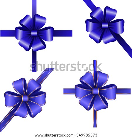Set of blue gift bows with ribbons isolated Vector