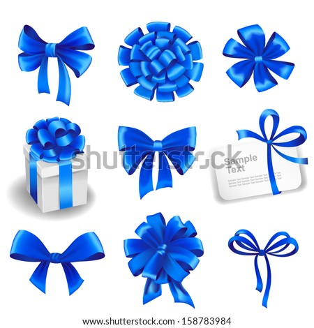 Set of blue gift bows with ribbons. Vector illustration.  - stock vector
