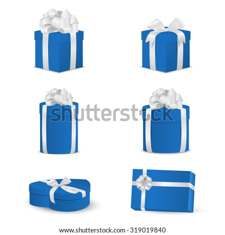 Set of blue gift boxes with white bows and ribbons.  Vector EPS10 illustration. - stock vector