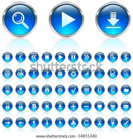 Set of blue glossy icons on white background