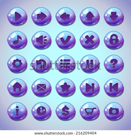 Set of blue glossy round buttons,menu elements for web or game design - stock vector