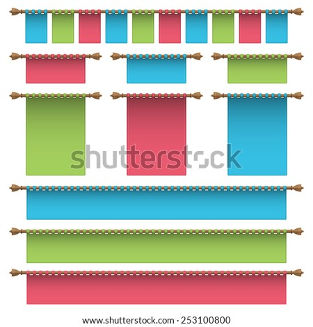 set of blue, green and red hanging banner ornaments, isolated on white - stock vector