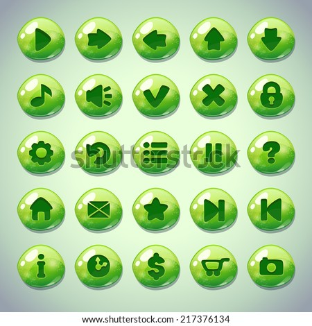 Set of blue green round buttons,menu elements for web or game design - stock vector