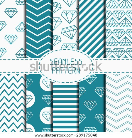 Set of blue hipster fashion geometric seamless pattern with diamond. ?hevron zigzag stripes. Wrapping paper. Paper for scrapbook. Vector background. Tiling. Stylish graphic texture. - stock vector