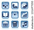 Set of blue icons, school subjects over black background - stock vector