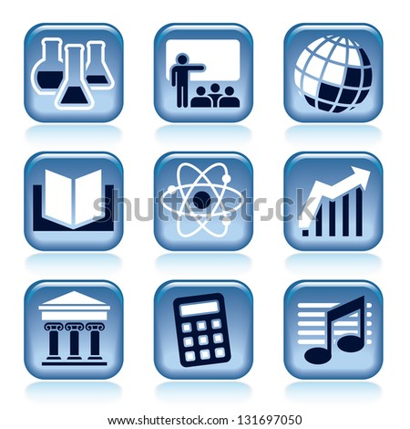 Set of blue icons, school subjects over black background