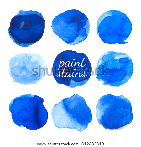 Set of blue ink stains isolated on white. Vector. - stock vector