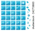 Set of blue ocean traveling buttons and icons - stock vector