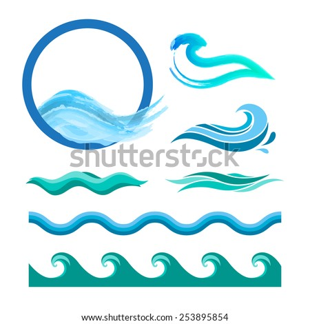 Set of blue ocean waves. Vector logo elements. Sea water icons. - stock vector