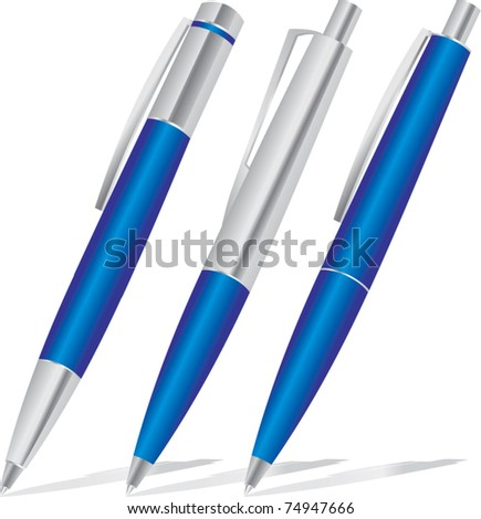 set of blue pens - stock vector