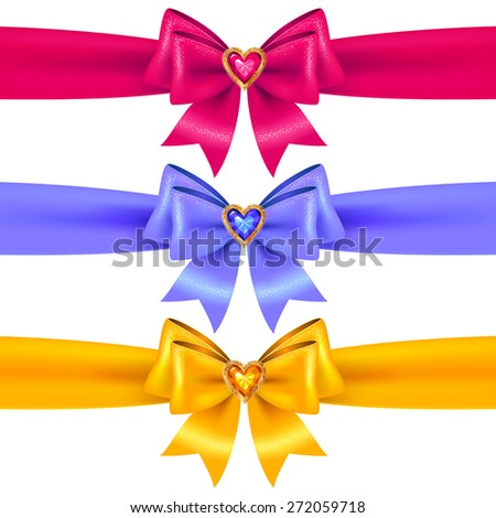 Set of blue, pink and yellow bows with crystal heart  for holiday design and decoration - stock vector