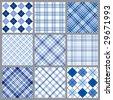 Set of blue plaids vector - stock vector