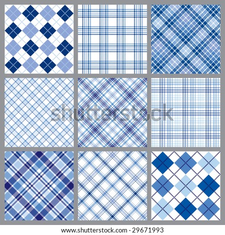 Set of blue plaids vector