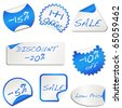 Set of 8 blue price discount stickers isolated on white vector - stock vector