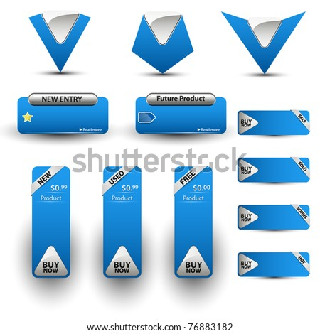Set of blue price tags. Vector illustration.
