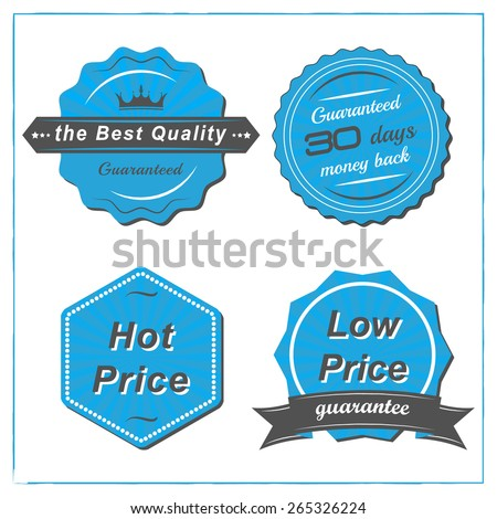 Set of blue retro sale tags in vintage style on a white background/hot price, low price, best quality and money back guarantee, vector illustration
