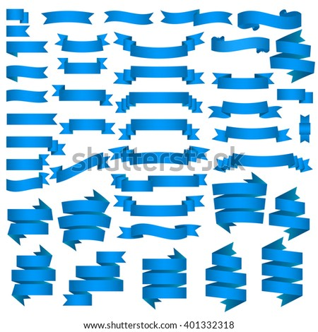 set of blue ribbons banners - stock vector
