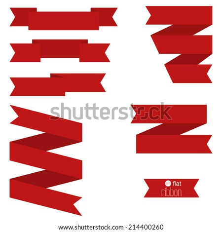 Set of blue ribbons for different designs and decorations, tags. Vector. red - stock vector