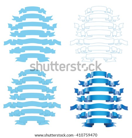 Set of Blue Ribbons Isolated on White Background. Illustration Vector.