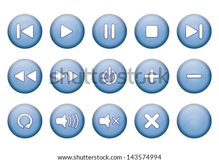 set of blue round buttons for music player