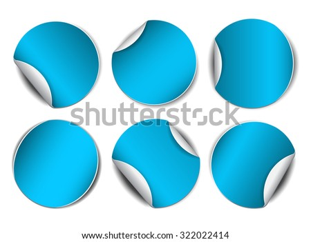 Set of blue round promotional stickers. Vector illustration - stock vector