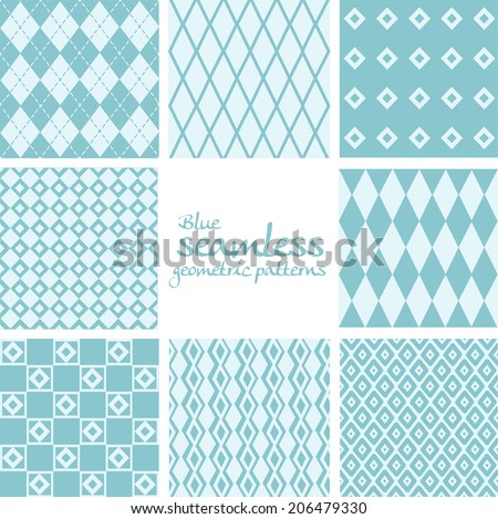 Set of blue seamless geometric patterns from rhombuses