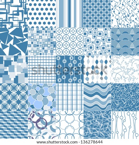 Set of 25 blue seamless patterns. seamless pattern can be used for wallpaper, website background, textile printing - stock vector