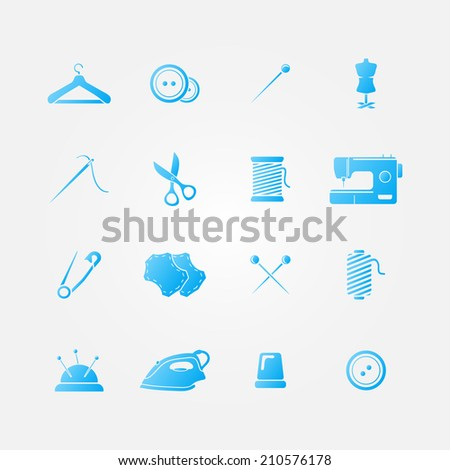 Set of blue 16 sewing tools icons - vector sewing equipment - stock vector
