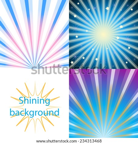 Set of blue  shining backgrounds with sun rays and stars